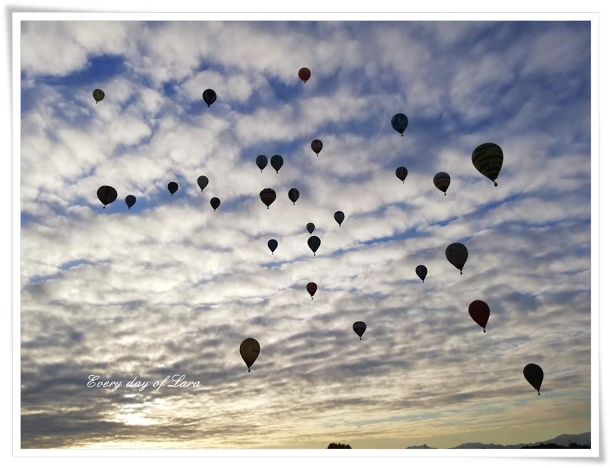 逆光からも眺める熱気球