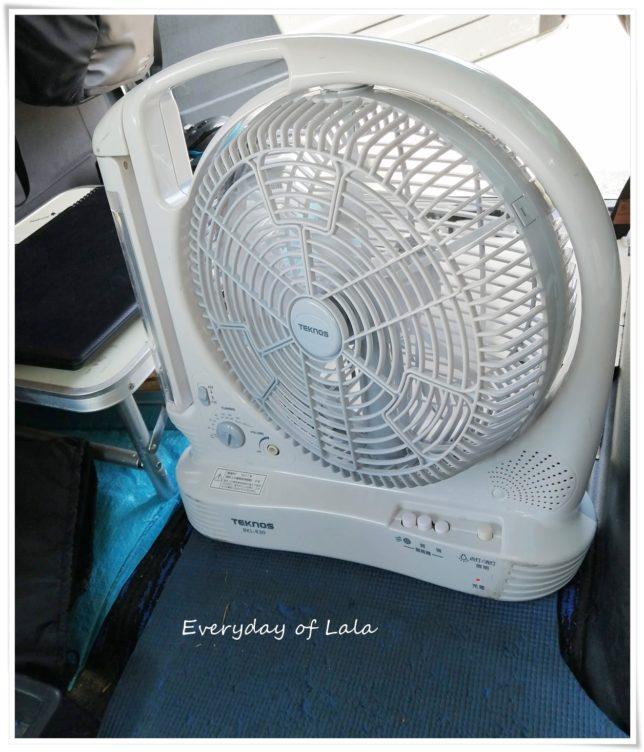 車内で使う扇風機です