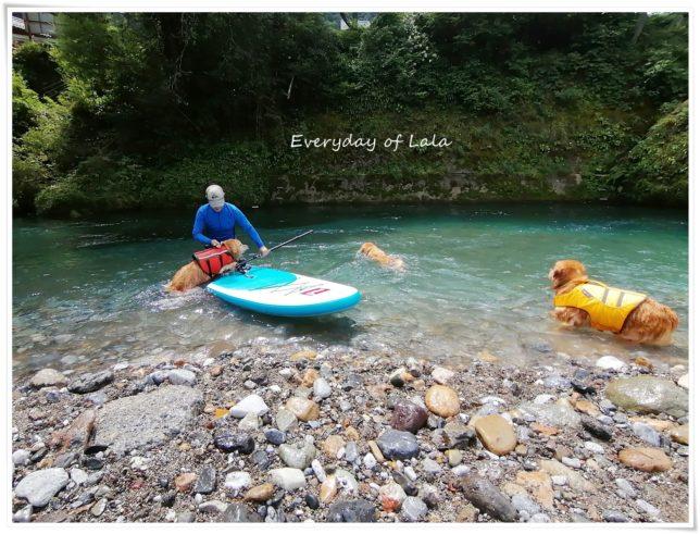 お友達と川遊びへSUPしてきました